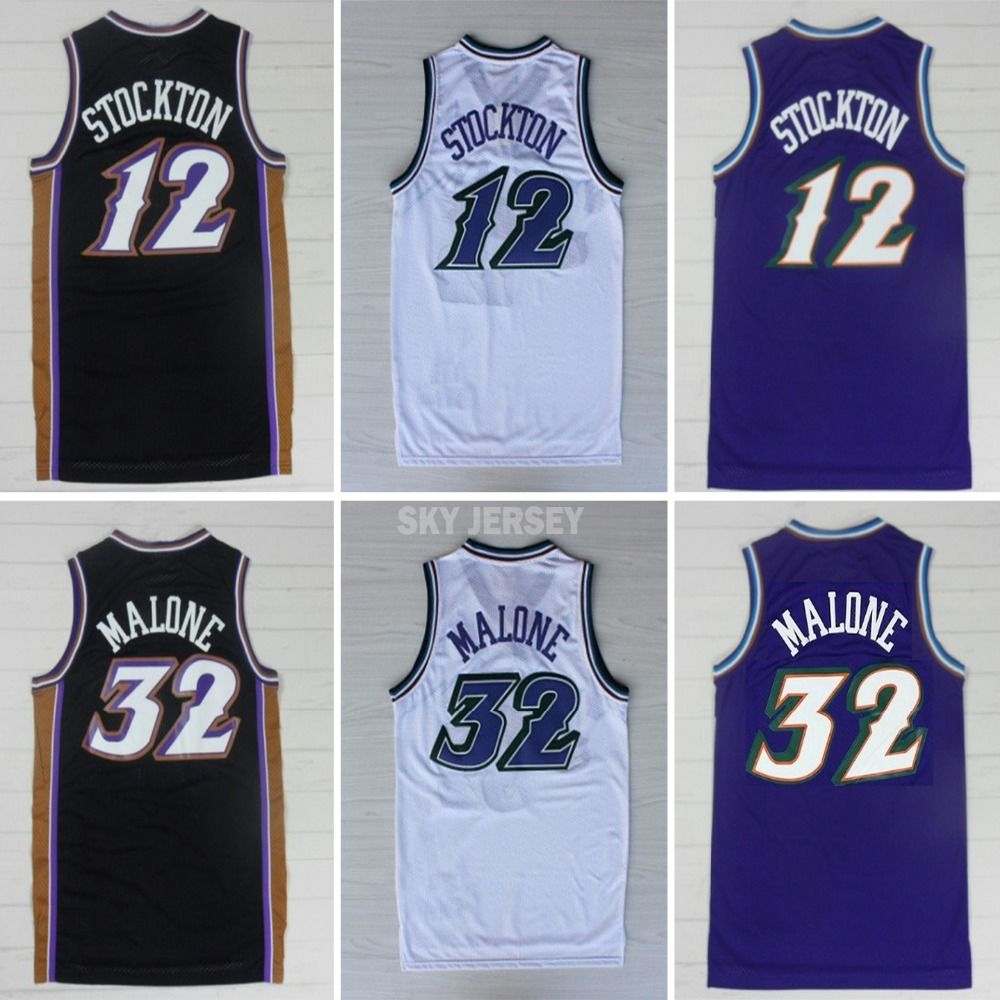 3a2a47d6dc30 Aliexpress.com   Buy Utah Double  12 John Stockton Jersey  32 Karl Malone  Jersey Cheap Authentic Snow Mountains Basketball Jersey from Reliable jersey  font ...