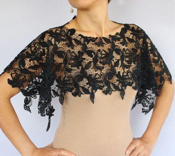Black lace shrug bridal shoulder wrap lightweight by for Black lace jacket for wedding dress
