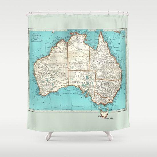 Australia shower curtain vintage map aqua by mapology on etsy map australia shower curtain vintage map aqua by mapology on etsy gumiabroncs Choice Image
