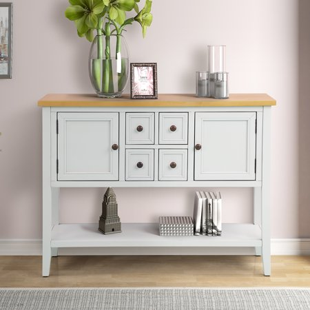 Sideboards And Buffets Sturdy Buffet Table Solid Wood Kitchen Storage Buffet And Sideboard Console Tables W 4 Storage Drawers 2 Cabinets 1 Bottom Shelf For Dining Room Console Sofa Table With