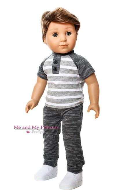 """Cool Denim Jeans with Knee Patch Fits 18/""""American Girl Doll Boy Logan or Girls!!"""