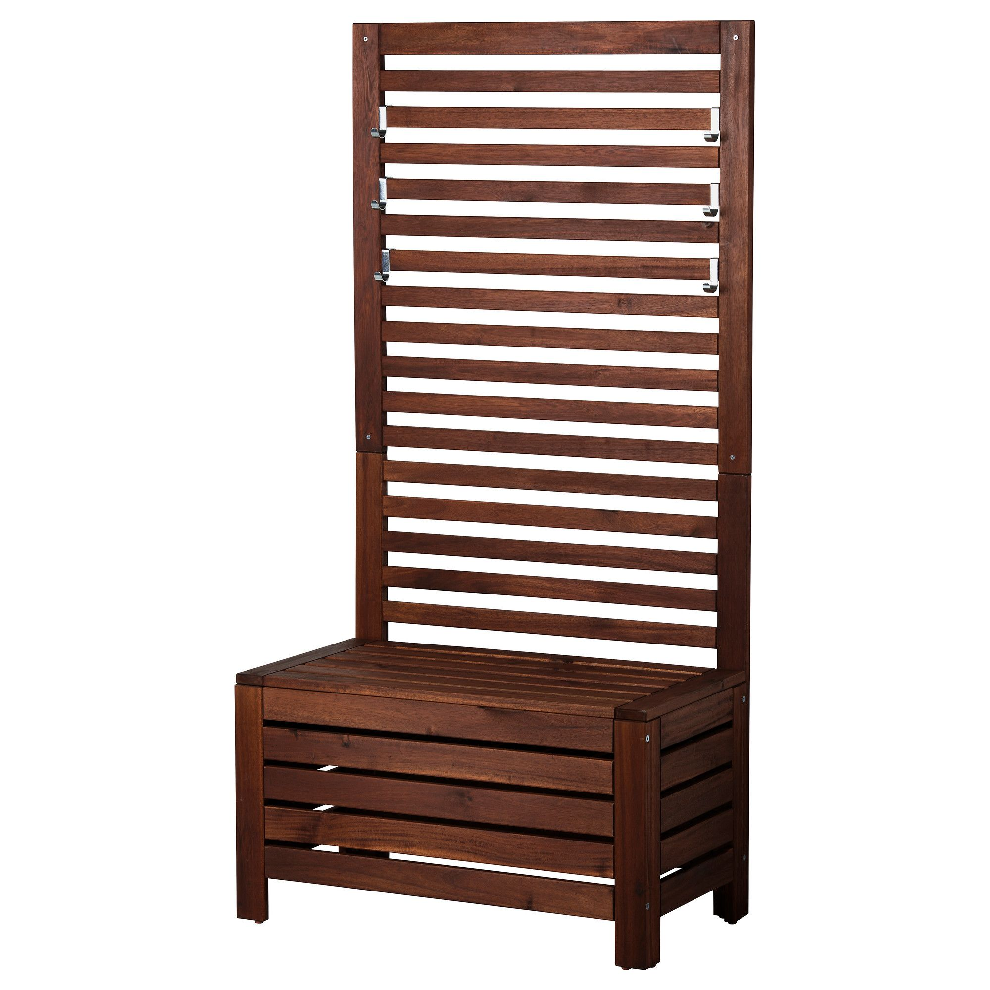 pplar bench with wall panel outdoor brown stained