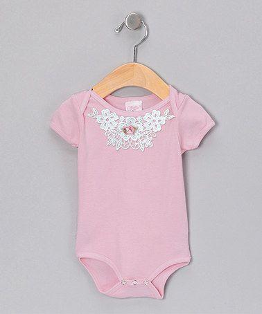 Light Pink Floral Lace Collar Bodysuit - Infant by Truffles Ruffles   zulilyfinds 9275f1d9d