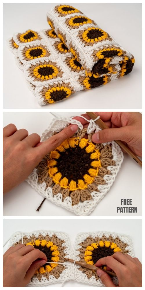 Sunflower Granny Square Blanket Free Crochet Patterns #crochetpatterns
