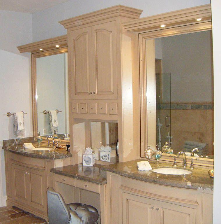 solid hardwood master bath with his her sinks mirrored back square raised panel doors - Custom Bathroom Vanities