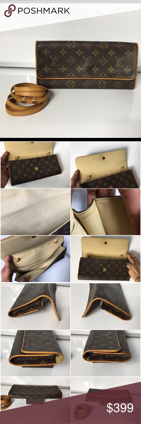 100% Authentic Louis Vuitton  Pouchette Twin GM 100% Authentic Louis Vuitton Monogram Pouchette Twin GM Cross Body Bag. Pre-Owned bag in very good used condition. no rip ,no crack, no stain on the canvas. Very clean inside. No bad odor/ no smell. Leather and strap has marks and sign of used. MADE IN FRANCE DATE CODE FL0042 ( April 2002).  Please check all the pictures.-In order to avoid unnecessary return. 100% authentic or your money - no return sold as is- Louis Vuitton Bags Crossbody Bags