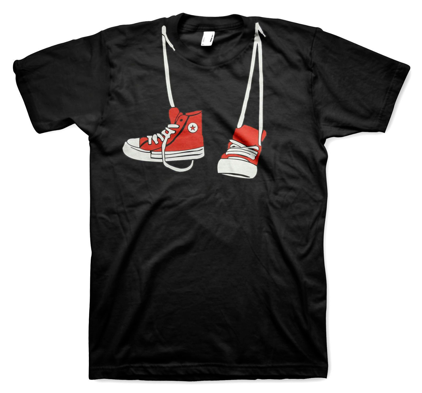 a360430d Cool Red Converse Shoes Hanging Around Neck T-shirt. Please feel free to  contact us with any questions regarding the item. Thank you for shopping  with us!