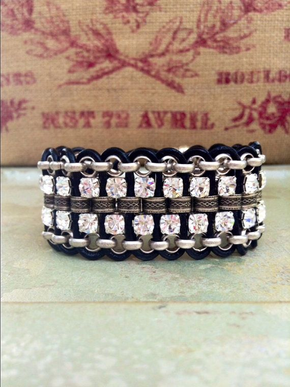 Chunky Black Leather Rhinestone Cuff Cross by CountryChicCharms