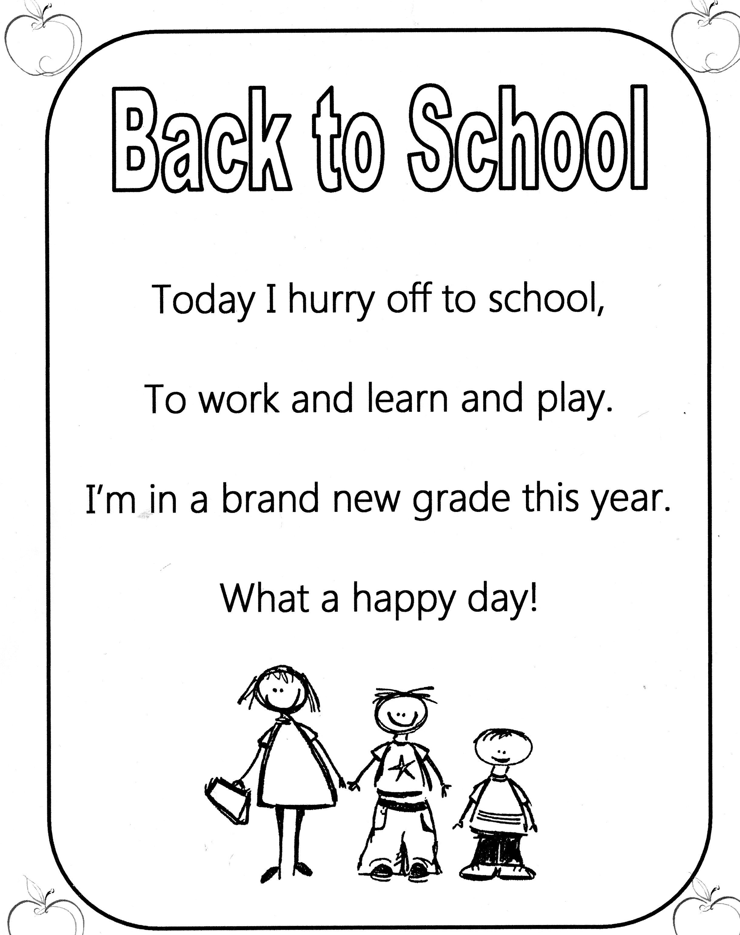 Back to School Poem! Great for shared reading First day