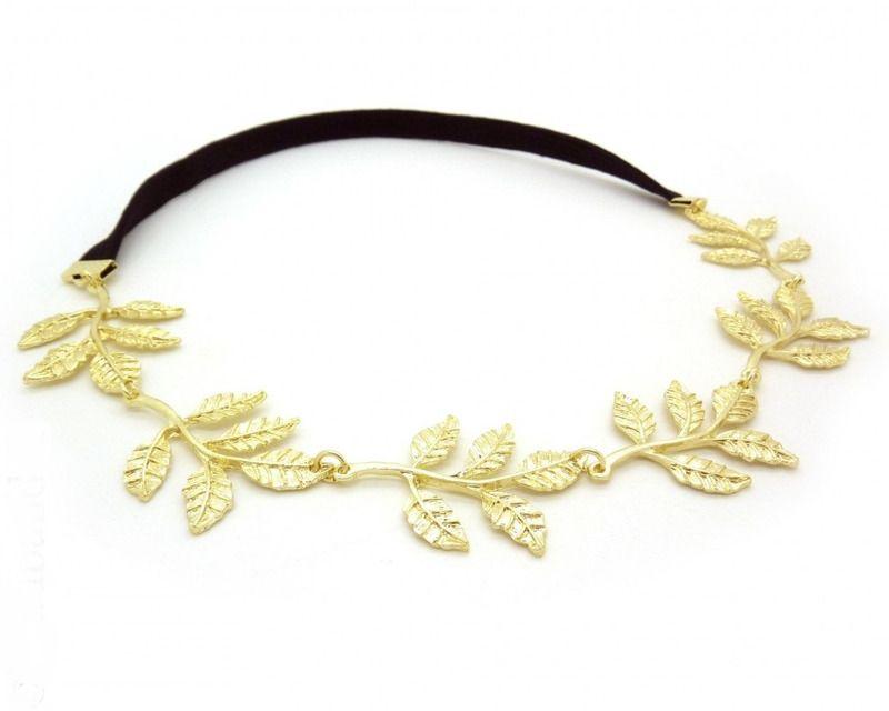 headband feuilles dorées - cheveux - patines et broc - Fait Maison