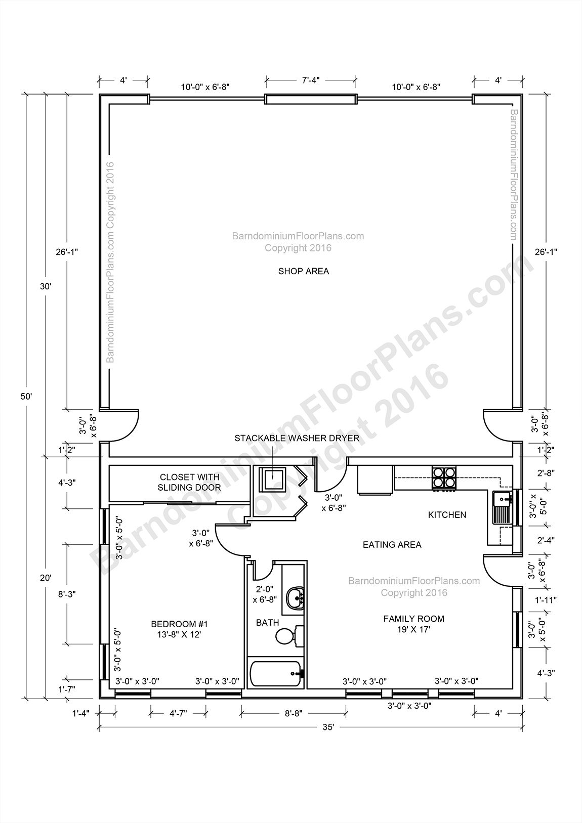 Barndominium floor plans pole barn house plans and metal for Pole building with apartment plans