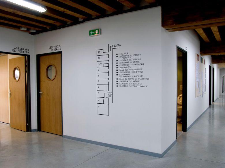 Ecole Nationale Superieure Des Beaux Arts De Lyon Signage Design Wayfinding Signage Signage System
