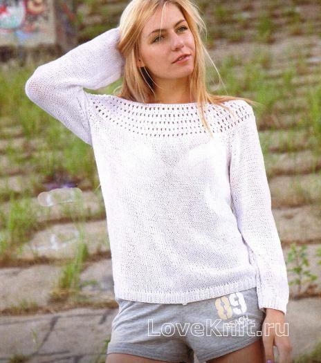 белый пуловер с рукавом реглан схема спицами люблю вязать
