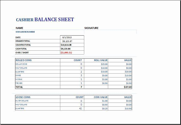 Cash Drawer Count Sheet Template Fresh Cashier Balance Sheet Template For Excel Balance Sheet Balance Sheet Template Business Budget Template