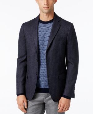 Dkny Men's Slim-Fit Herringbone Sport Coat - Blue 44R