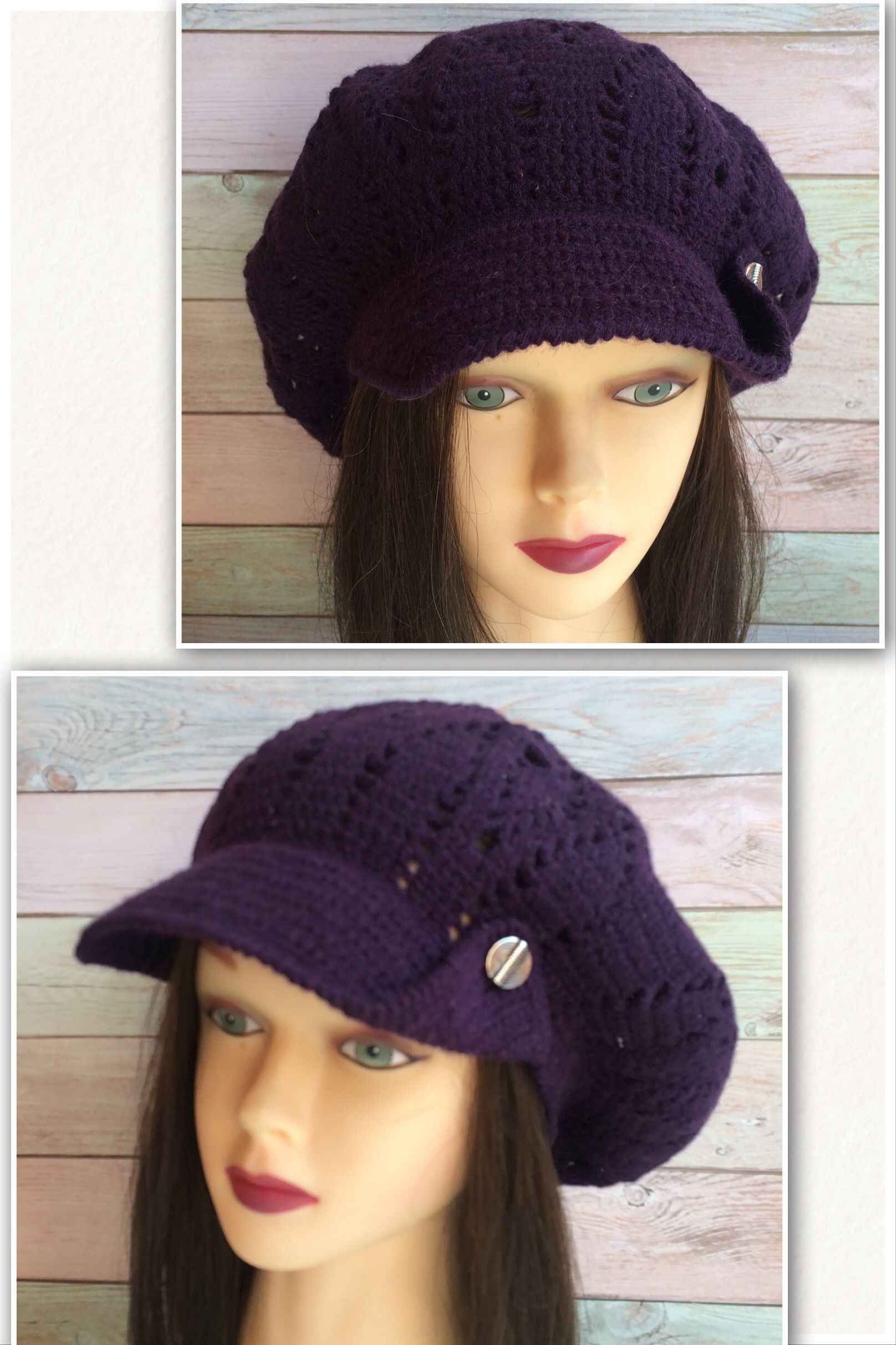 This is a crocheted oversized slouchy cap with visor. It is a good idea to  wear in windy weather and in summer will protect your head and hair from  the sun. 98fb40417be6