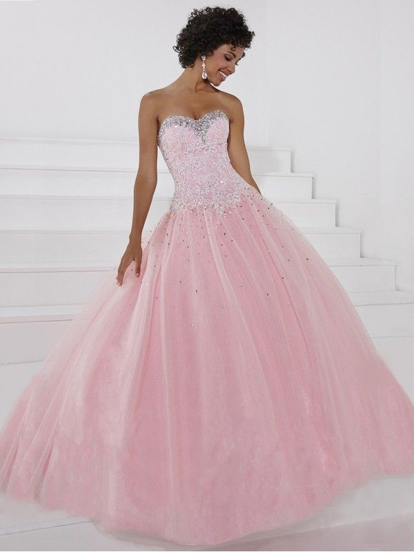 Pink Ball Gown Sleeveless Sweetheart Beaded Lace-up Tulle Prom Dress ...