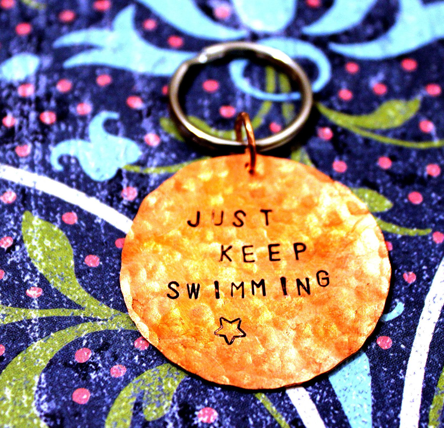 Just Keep Swimming - Quote from Finding Nemo - Hand Stamped Keychain. $10.00, via Etsy.