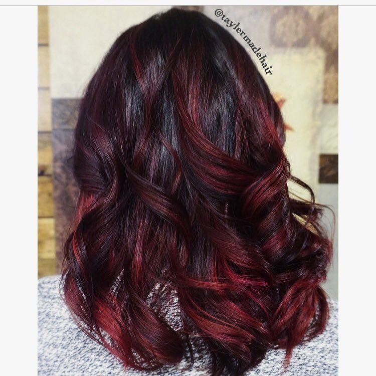 Black Cherry Balayage Red And Black Haircolor Hair Painting Hair Color For Black Hair Cherry Hair Black Cherry Hair
