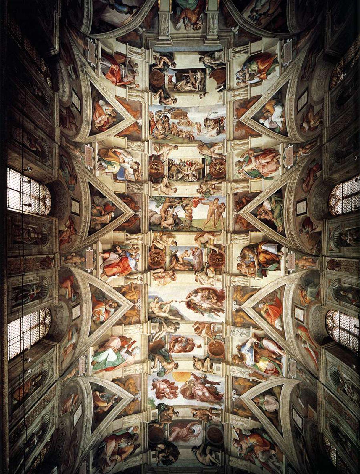 Ceiling Of The Sistine Chapel Michelangelo Medieval Art