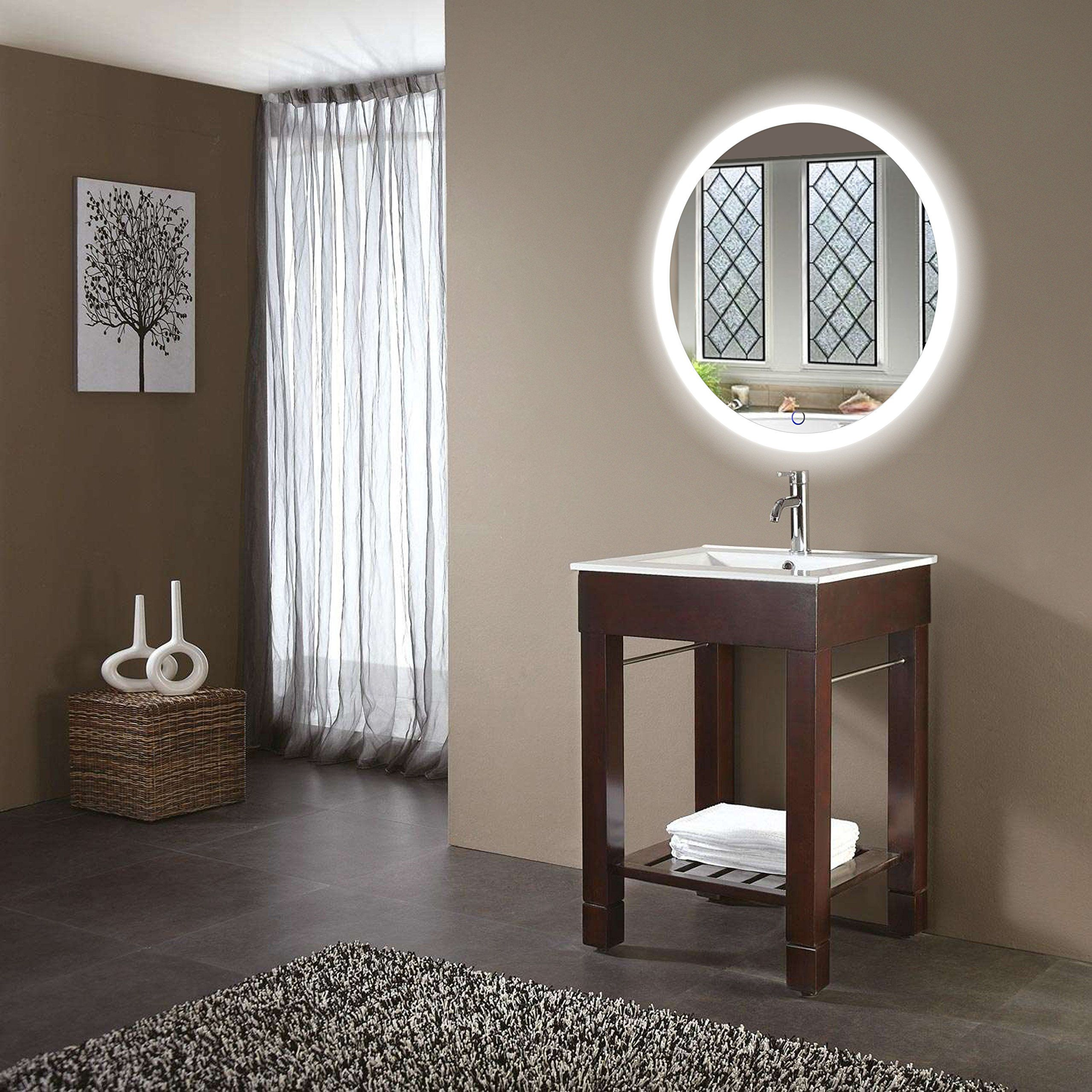 Led Bathroom Round Mirror 27 Inch Diameter Lighted Vanity Mirror
