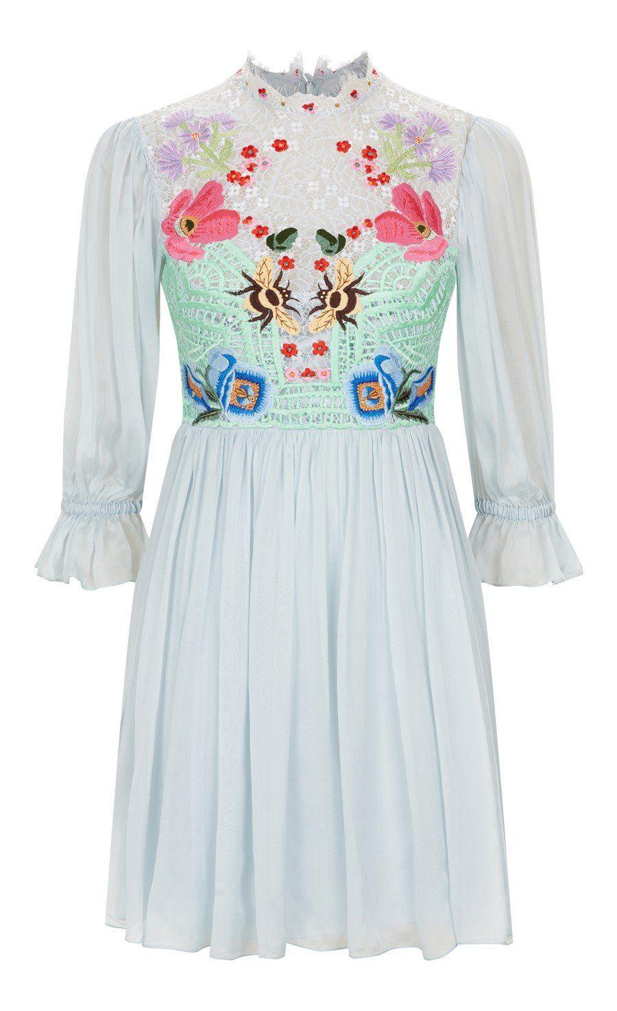 Mini aura lace sleeved dress spring distinctly flirty and