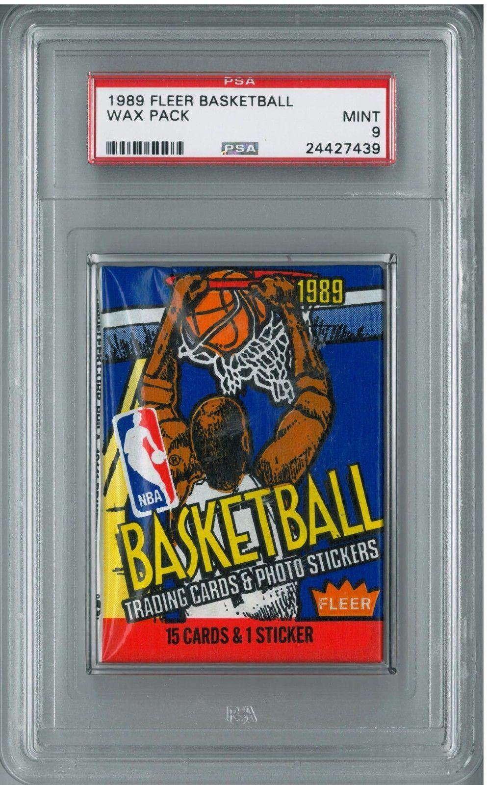 1989 fleer basketball unopened wax pack psa 9 mint