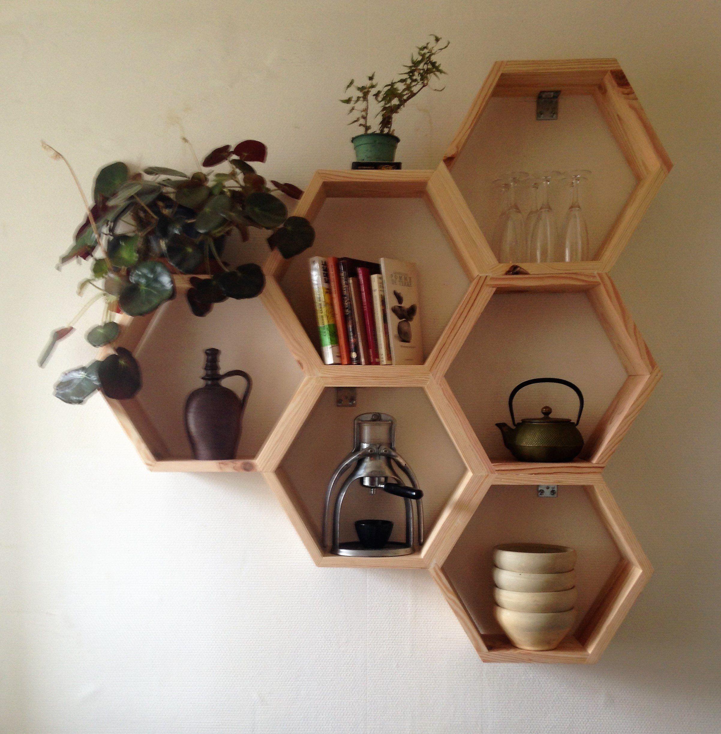 Etagere Murale Hexagonale En Bois Design Nid D Abeille Triangle