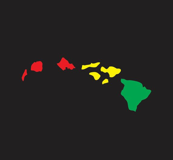 Hawaiian decals stickers island chain rasta