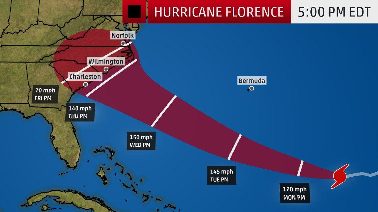 Hurricane Storm Surge Watch Issued As Florence Targets Carolinas With Flooding Destructive Winds Storm Surge The Weather Channel Florence