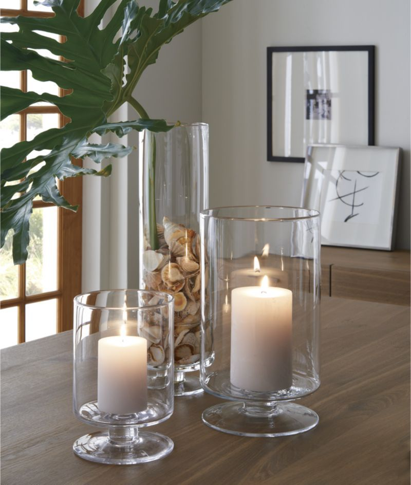 London Glass Hurricane Candle Holders Crate And Barrel Glass Hurricane Candle Holder Candle Decor Dining Room Table Centerpieces