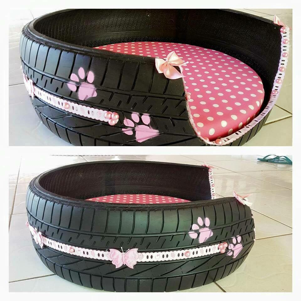 Dog bed from an old tire. Chew proof? Diy dog stuff, Diy