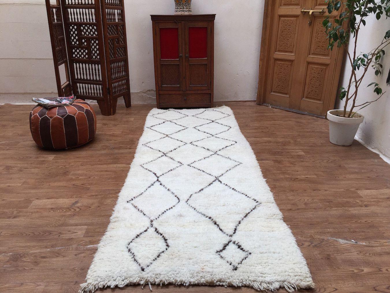 rug on carpet in hallway. Runner Hallway 3x9 Rug Beni Ourain Moroccan Handmade Berber Style Carpet Azilal Vintage On In T