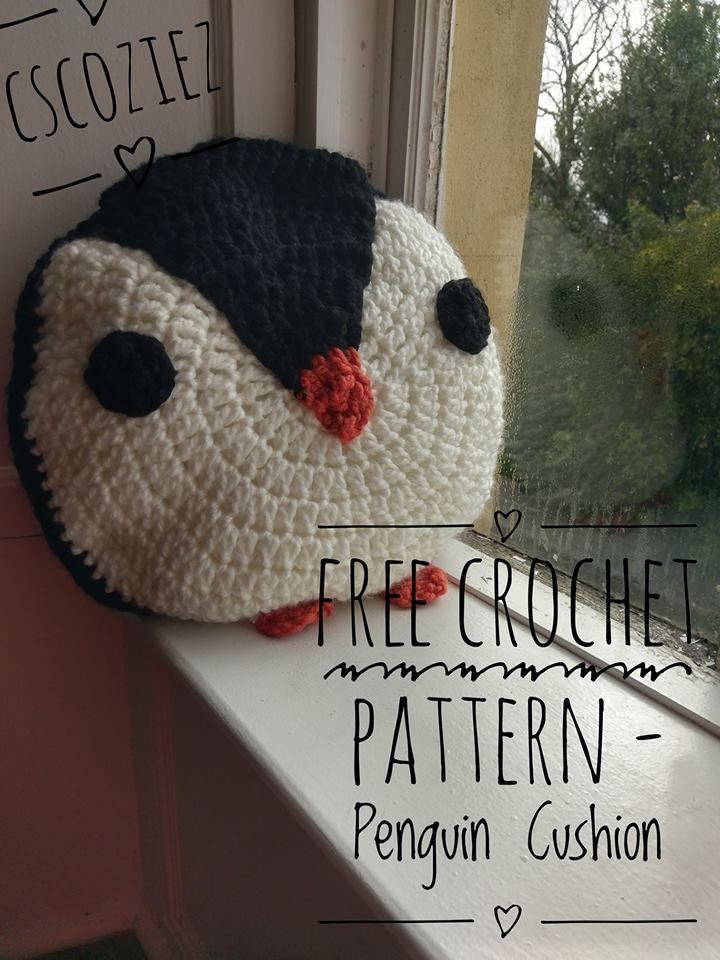 Free Crochet Pattern Penguin Cushion Works Up Super Quick Using