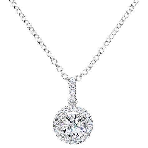 51ec06edbf750a Buy EWA 18ct White Gold Diamond Cluster Pendant Necklace, 0.65ct Online at  johnlewis.com