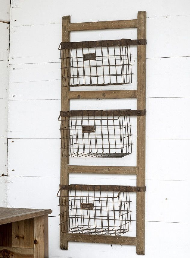 e5934c42e7 Wooden Ladder Shelf With Wire Baskets in 2019 | boat house shelfs ...