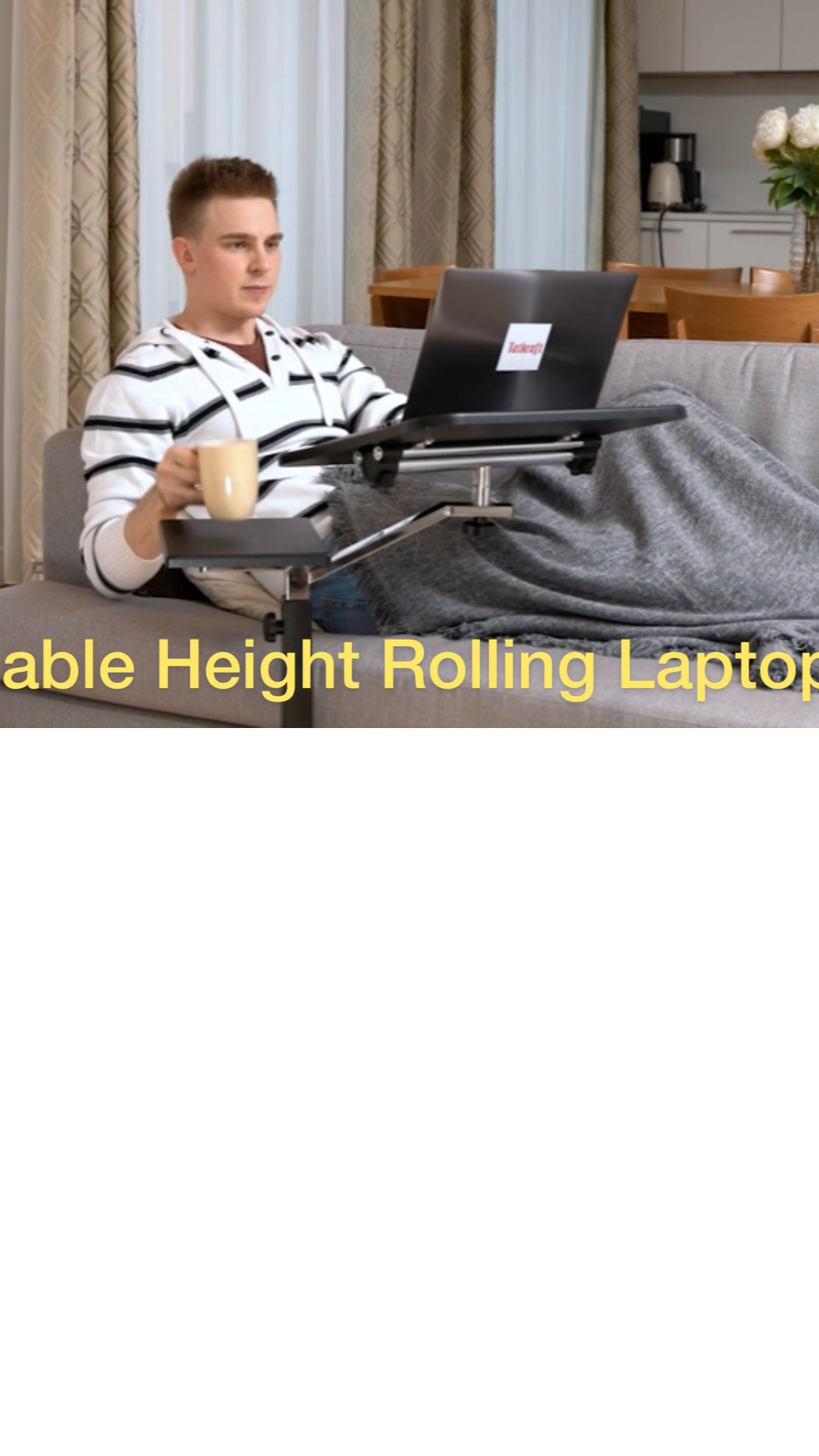 Portable ans Adjustable Height Rolling Laptop Desk with Mouse Pad