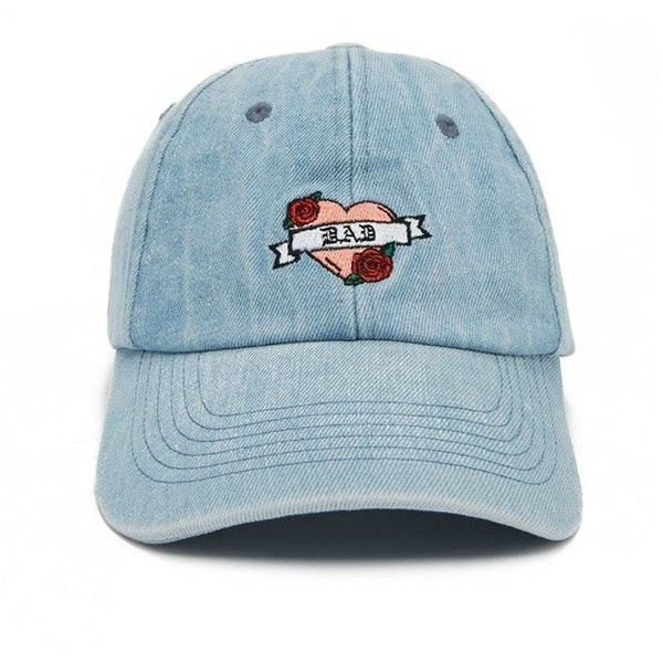 a3f9cfbadc3 Forever21 Embroidered Denim Dad Cap ( 13) ❤ liked on Polyvore featuring  accessories