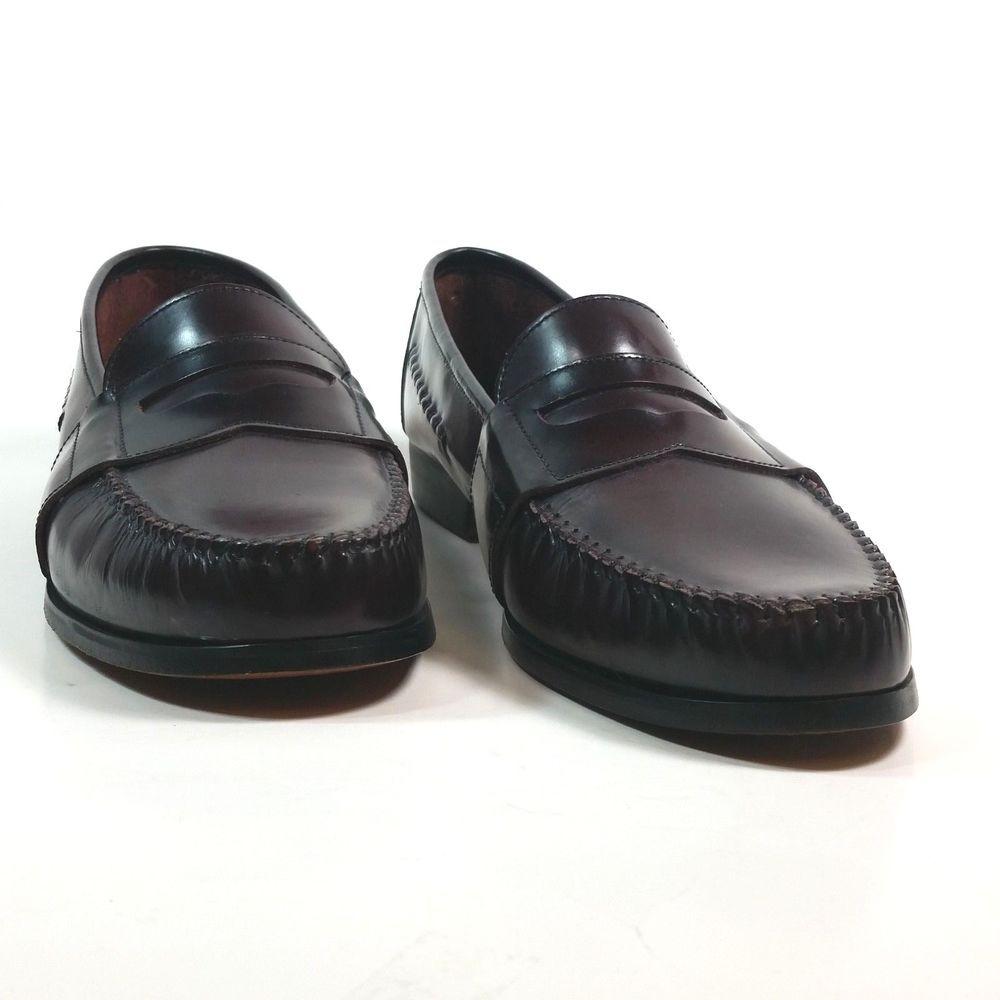 993a2cdaba640 Barrington Leather Loafers 13 D Mens Burgundy Slip On Dress Formal ...
