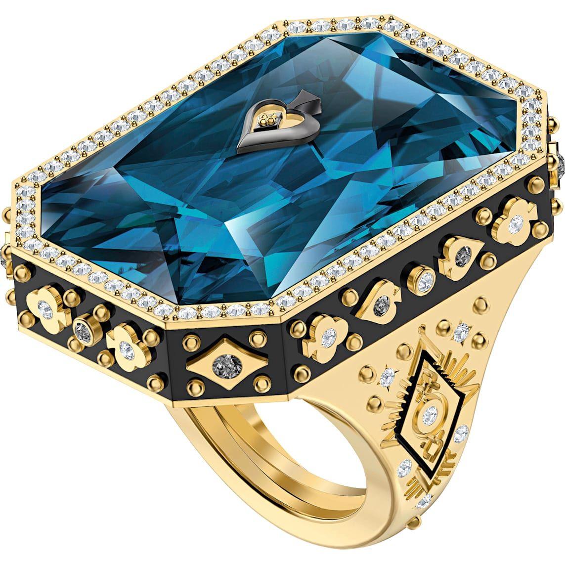 Tarot Magic Cocktail Ring, Blue, Gold-tone plated | Swarovski.com ...