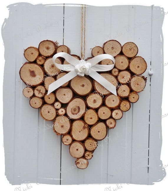 Large Rustic Log Heart Wedding Home Decoration by bynicki on Etsy, $13.50