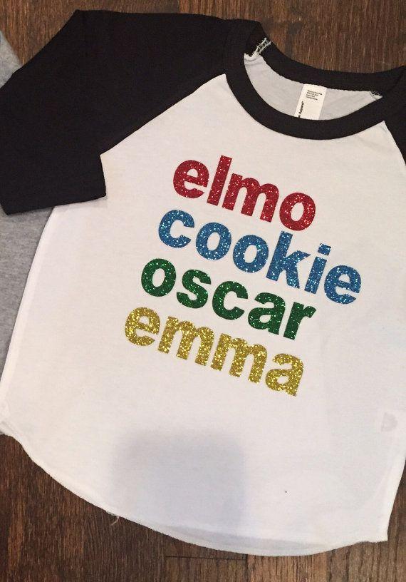 Sesame Street Tshirt Elmo Shirt Girls Custom Personalized Birthday Raglan Shir