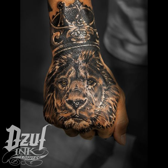 Be The King Of The Jungle Lion Dzul Seattle Tattoos For Guys Crown Hand Tattoo Best Sleeve Tattoos