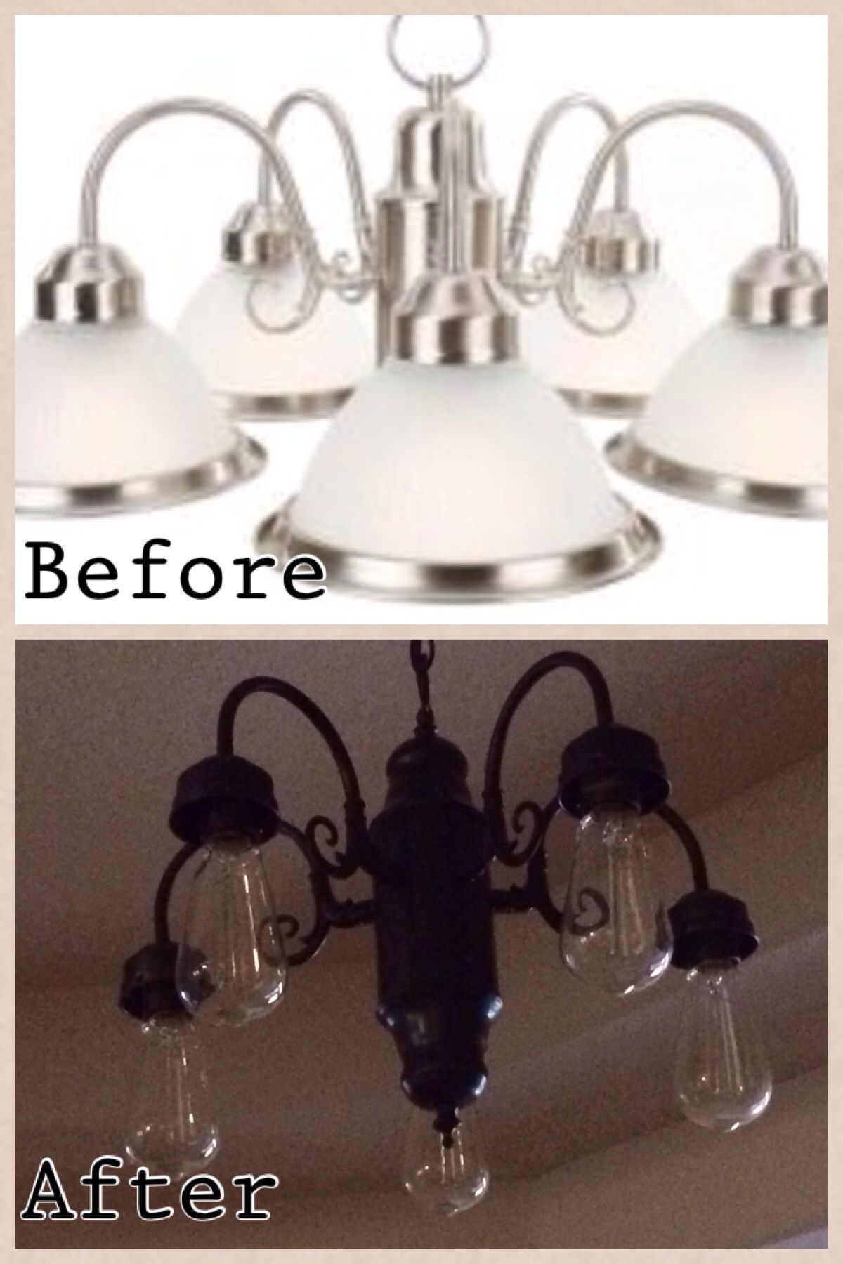 Diy Lighting Update All You Need Is A Can Of Spray Paint This Was Our Kitchen Light Fix