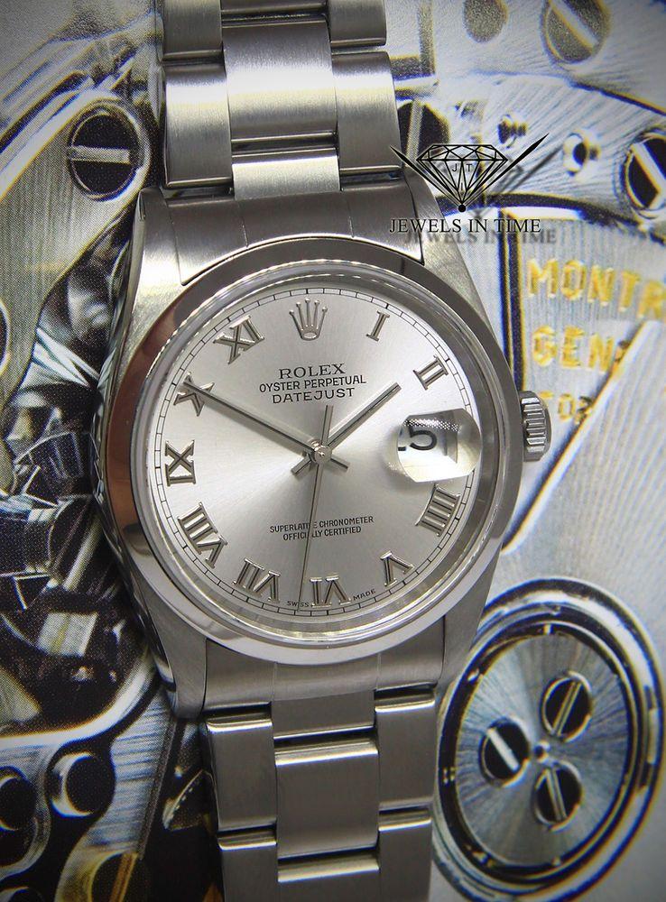 dc3aff54180 Rolex Datejust Steel Rhodium Roman Dial Mens 36mm Automatic Watch 16200 # rolex #menswatches #watchesformen