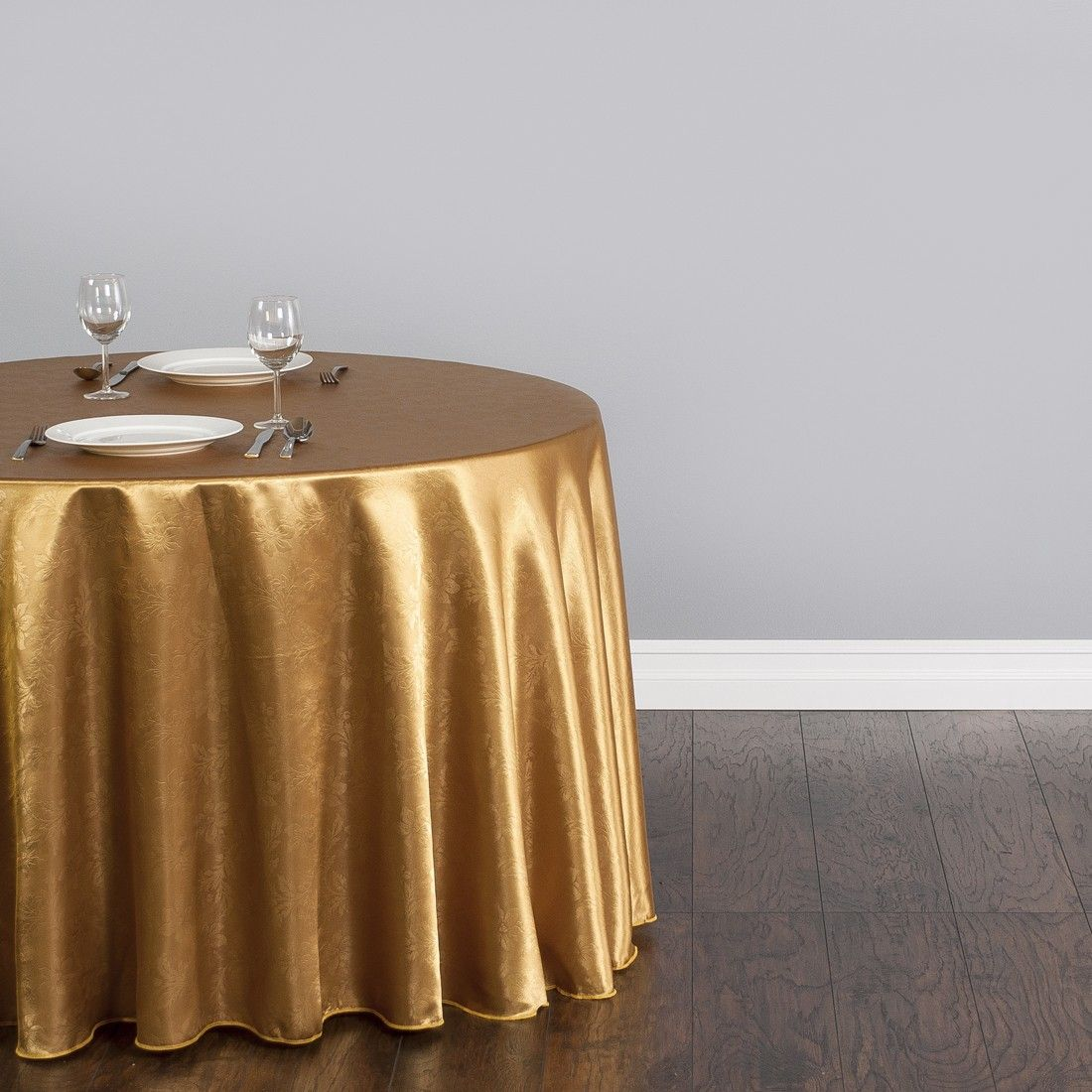 108 in. Round Satin Tablecloth White