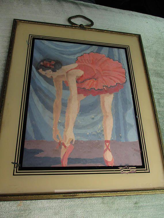 Vtg Art Deco Reverse Glass Framed Ballerina Watercolor Painting ...