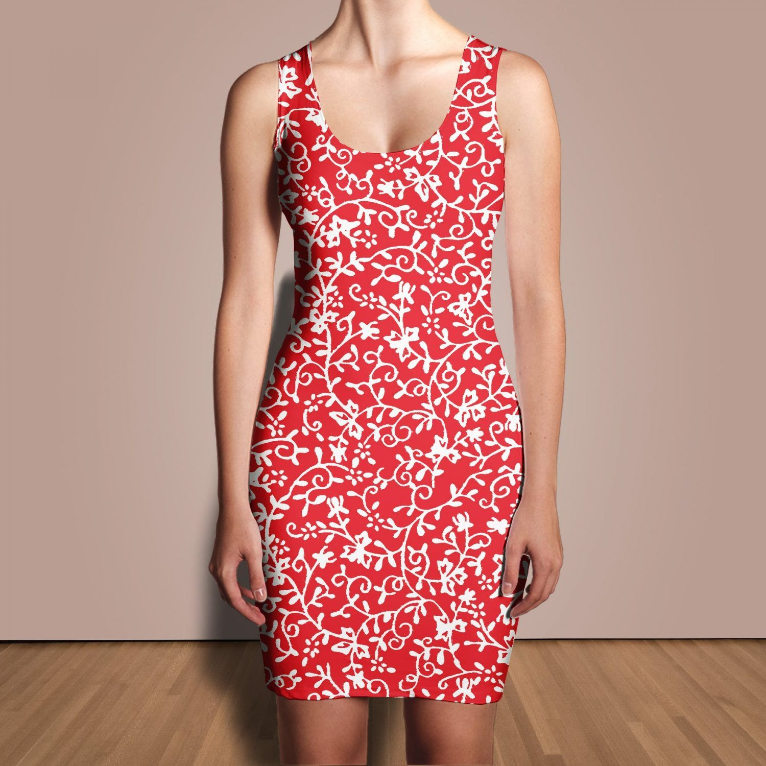 7cfdf239962c Floral Vines Sleeveless Bodycon Dress In Various Colors ❤ RFP ...