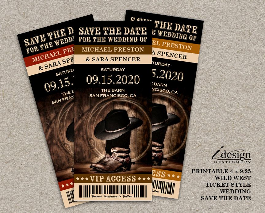 Country Western Save The Date Tickets | Printable Ticket Style Wild ...