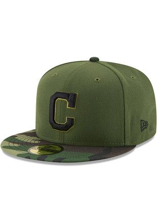 the latest 89de1 ce46c Cleveland Indians New Era Mens Green 2017 Memorial Day AC 59FIFTY Fitted Hat